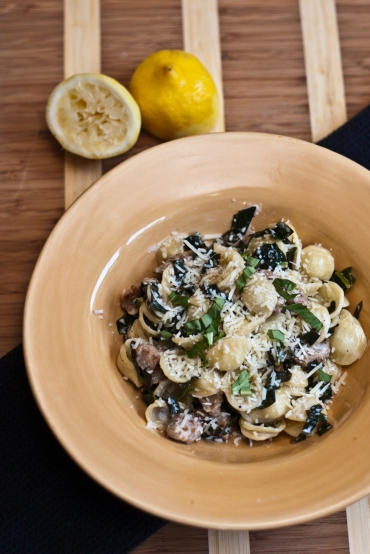 orecchiette with farmers market sausage and kale