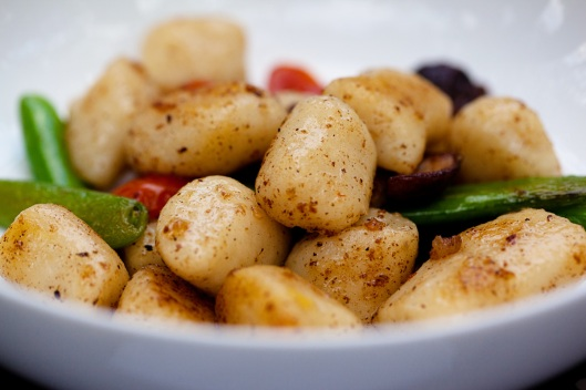 Gnocchi with Snap Peas, Shiitaki Mushrooms, Tomatoes in a Sage Brown Butter Sauce