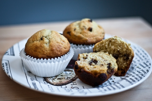 chunky monkey - banana chocolate chip muffins