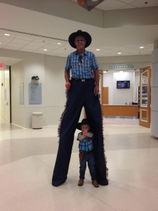 Stilts Walking Reggie and his Sidekick